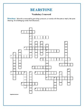 Bearstone: 25-Word Vocabulary Crossword—Use with Bookmarks Plus!