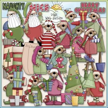 Beary Christmas Clip Art - Dressed Up Bears Clip Art - CU Clip Art & B&W
