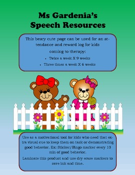 Beary Cute Speech Therapy Attendance Log/Behavior Chart