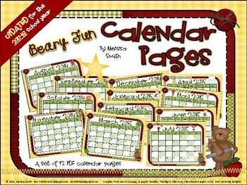 Beary Fun Calendar Pages