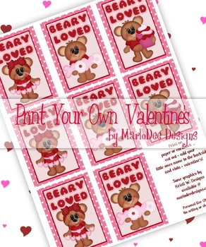 Beary Loved Printable Childrens Valentine Cards d1