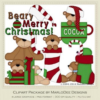 Beary Merry Christmas Clip Art Graphics