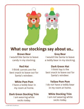 Christmas Stocking Math Activity - Glyph Craft with Worksheets