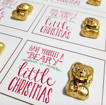 Beary Merry Christmas Labels/ Holiday Student Favor Goodie Goody Bag Tag