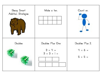 Beary Smart Addition Strategy Cards