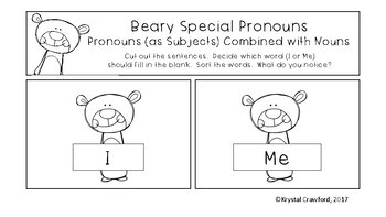 Beary Special Pronouns (as Subjects) Combined with Nouns