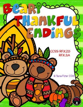 Beary Thankful Endings Thanksgiving Fall Differentiatled File Folder Game Center