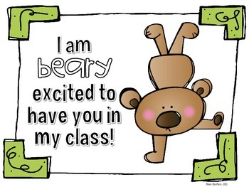 'Beary excited' classroom welcome tags