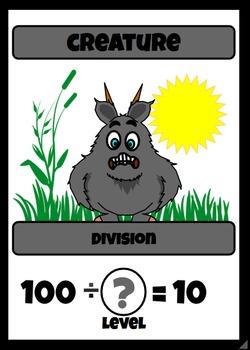 Beastie Battles: 10's Deck Multiplication Fact Card Game