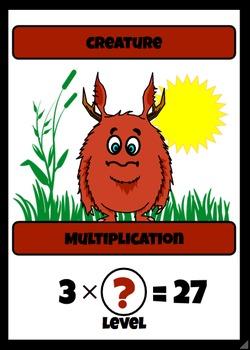 Beastie Battles: 3's Deck Multiplication Fact Card Game