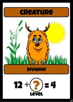 Beastie Battles: 4's Deck Multiplication Fact Card Game