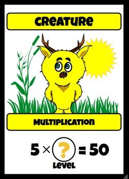 Beastie Battles: 5's Deck Multiplication Fact Card Game