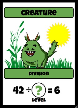 Beastie Battles: 6's Deck Multiplication Fact Card Game