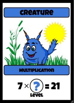 Beastie Battles: 7's Deck Multiplication Fact Card Game