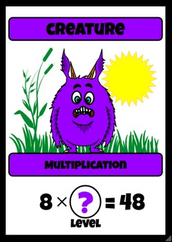 Beastie Battles: 8's Deck Multiplication Fact Card Game