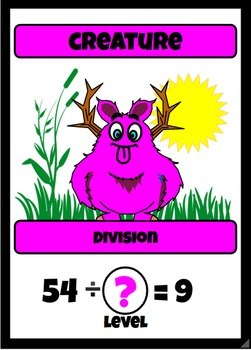 Beastie Battles: 9's Deck Multiplication Fact Card Game