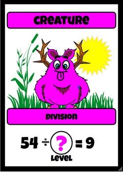 Beastie Battles: 9's Deck Multiplication Fact Card Game