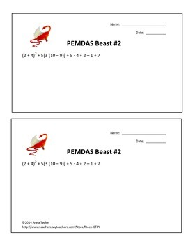 Beasts of PEMDAS! Order of Operations Math 5.OA.1 6.EE.1 Practice Challenges