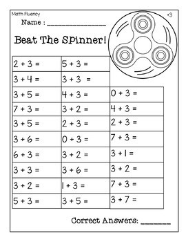 Beat The Spinner- Math Fluency 0-10