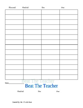 """""""Beat The Teacher"""" a place value game"""