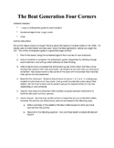 Beat Writers Anticipation Guide/Four Corners Activity
