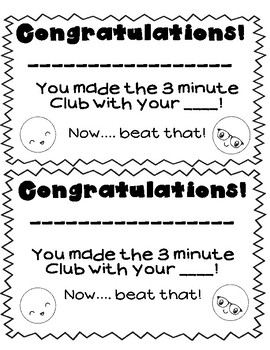 Beat Your Best Time!  A Positive Spin on Math Fact Fluency Tests