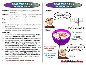 Beat the BANK Multiplication - 4th Grade Math Game [CCSS 4.NBT.B.5]
