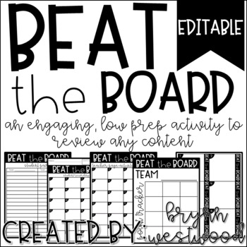 Beat the Board-A review game to use with any content (EDITABLE)
