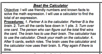 Beat the Calculator Directions--Compuation
