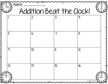Beat the Clock: Addition