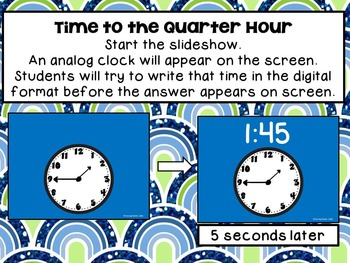 Beat the Computer-Show Analog or Digital Times to the Quarter Hour & 5 Minutes