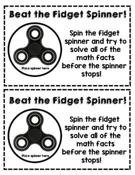 Beat the Fidget Spinner - Reusable Math Fact Motivator!