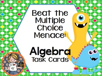 Multiple Choice Task Cards or Scoot for Pre-Algebra Expres
