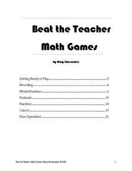 Beat the Teacher Math Games by Mary Shoemaker | Teachers Pay Teachers
