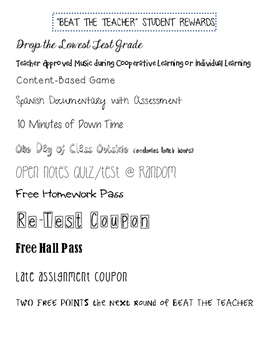 Beat the Teacher Student Reward List