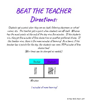 Beat the Teacher - Teacher vs Students Classroom Management FREEBIE Game