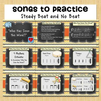Steady Beat vs No Beat Unit: Lesson, Songs, Listening Clips, 2 Orff Accomp, Game