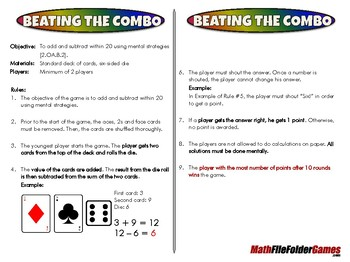 Beating the Combo - 2nd Grade Math Game [CCSS 2.OA.B.2]