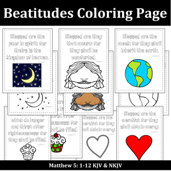 bible coloring pages beatitudesrebekah sayler  tpt