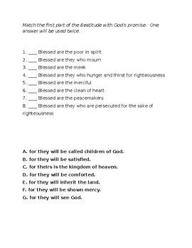 Beatitudes Matching and Application