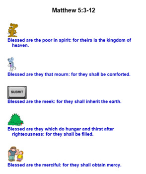 Beatitudes Matthew 5:3-12 KJV PowerPoint, Worksheets, Flashcards, & Posters