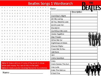 Beatles Songs #1 Wordsearch Puzzle Sheet Activity Keywords Music Musicians