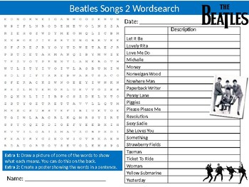 Beatles Songs #2 Wordsearch Puzzle Sheet Activity Keywords Music Musicians