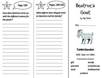 Beatrice's Goat Trifold - Treasures 3rd Grade Unit 5 Week