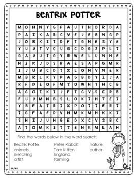 Beatrix Potter Author Study (Biography, Timeline, Compre., Organizer, Poster)
