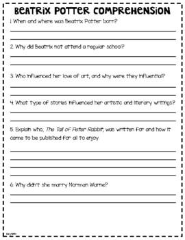 Beatrix Potter Author Study Print & Google Classroom    Distance Learning