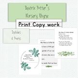 Beatrix Potter Copywork Pages in Manuscript 6 Poems!