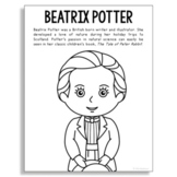 Beatrix Potter, Famous Author Informational Text Coloring Page Craft, Library