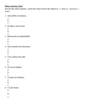 Beau, nouveau, vieux French adjectives worksheet 1