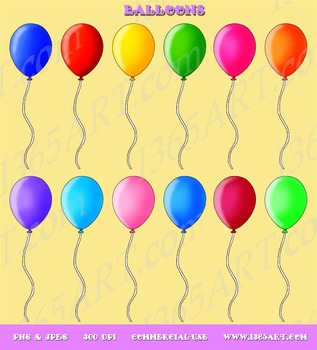 Beautiful Balloons Clip Art Pack Digital Graphics Instant Download